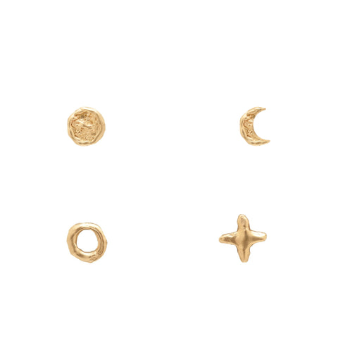 Gold Crescent Moon Earrings: Phases of the Moon Studs