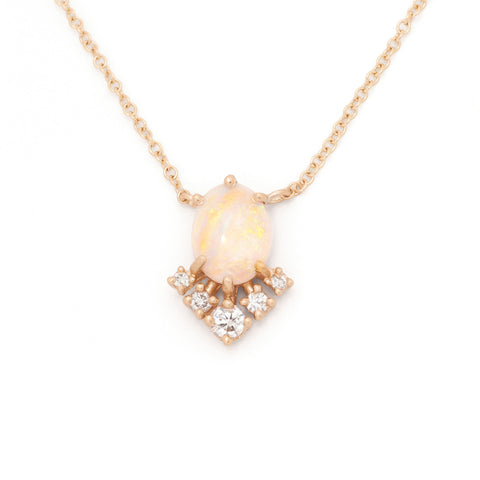 oval opal necklace Juliet diamond 14k farimined gold ethical valley rose