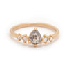 Grey Pear Rose Cut Diamond 5 Stone Ring - Valley Rose Ethical & Sustainable Fine Jewelry
