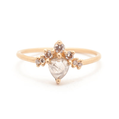Grey Pear Rose Cut Diamond Halo Ring