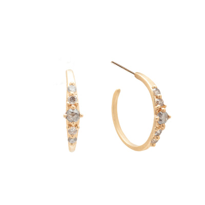 Salt & Pepper Diamond Hoops - Valley Rose Ethical & Sustainable Fine Jewelry