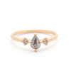 Grey Pear Diamond Three Stone Ring - Valley Rose Ethical Fine Jewelry 14K Fairmined Gold