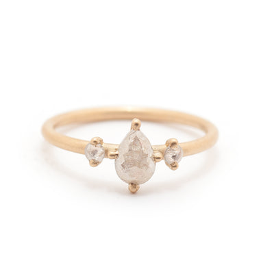 Pear Rosecut Diamond Three Stone Ring - Valley Rose Ethical Fine Jewelry 14K Fairmined Gold