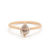 Grey Pear Rosecut Diamond Solitaire - Valley Rose Ethical Fine Jewelry 14K Fairmined Gold