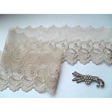 Mocha Coffee Taupe Embroidered Voile Lace Ribbon Trim 9 cm/3.5""