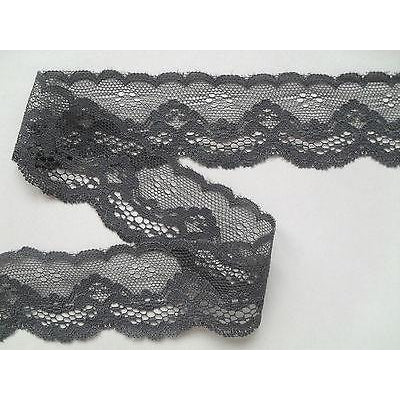 Slate Grey Scalloped Lace Trim 4 cm/1.5