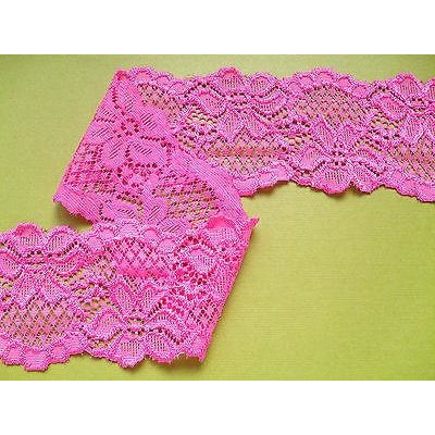 Bright Pink Soft Stretch Scalloped Lace   6 cm/2.25