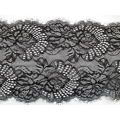 Black Stretch Eyelash Lace 17 cm/6.5