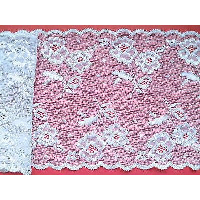 White Stretch French Clipped Chantilly Lace 17cm/7