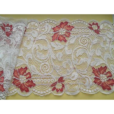 Ivory Coral Red Stretch French Lace 17 cm Lingerie Craft Trim