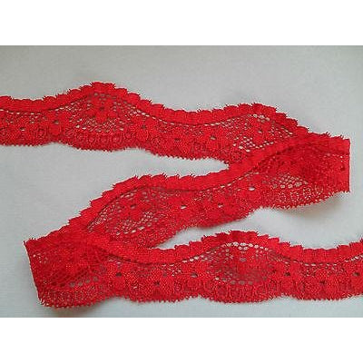 Bright Red French Stretch Cut-Out Lace 3cm/1.25