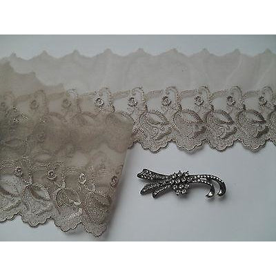 Mocha Coffee Taupe Embroidered Voile Lace Ribbon Trim 9 cm/3.5