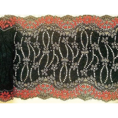 2.8 m Black/Red Stretch (with Silver Metallic) Lace 7
