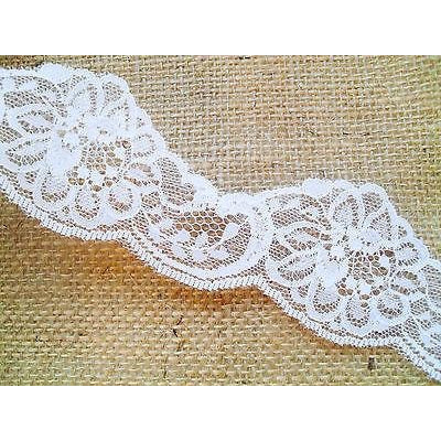 White Nottingham Cut-Out Lace Trim 5cm/2