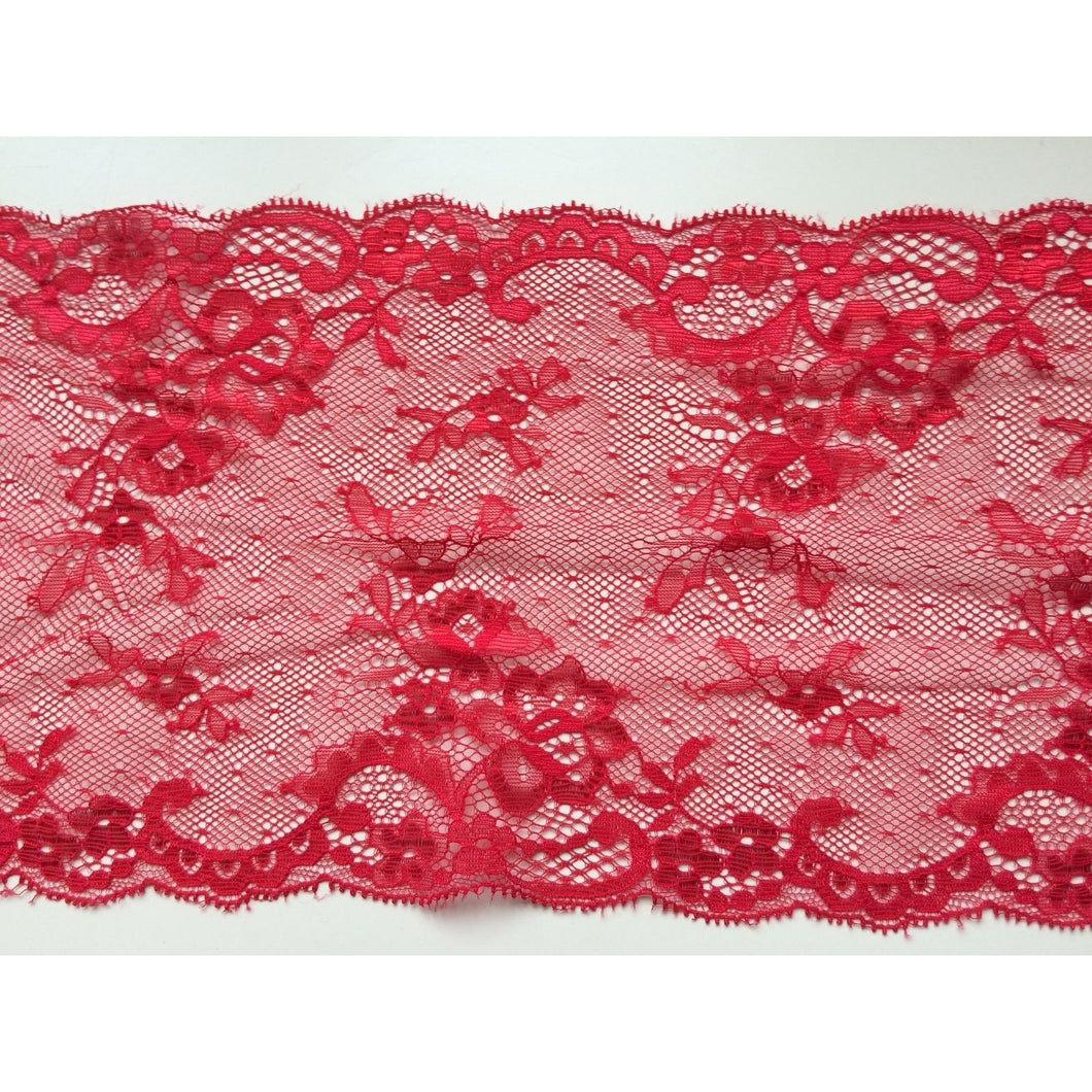Delicate Red Wide Clipped Lace 18 cm/7