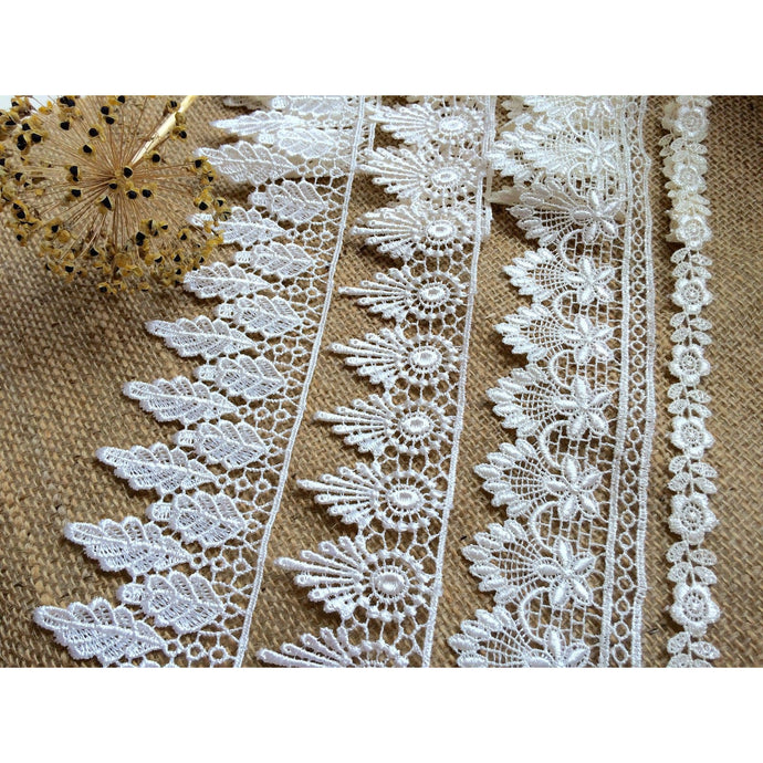 13.7 metres   Ivory or White Guipure Venise Lace Trim 4 Designs