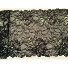 "Chocolate Brown/Olive Green Stretch Lace 7""/16 cm"