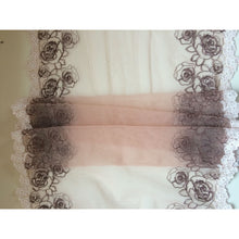 "Beautiful Ivory/Coffee GUIPURE Embroidered Tulle Lace 12""/31 cm"