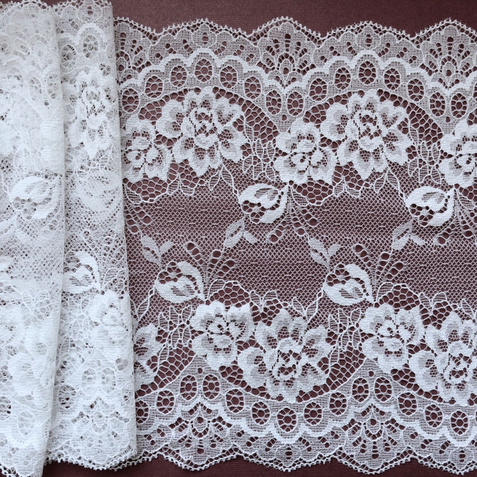 White Delicate Clipped Lace Wide 7.5