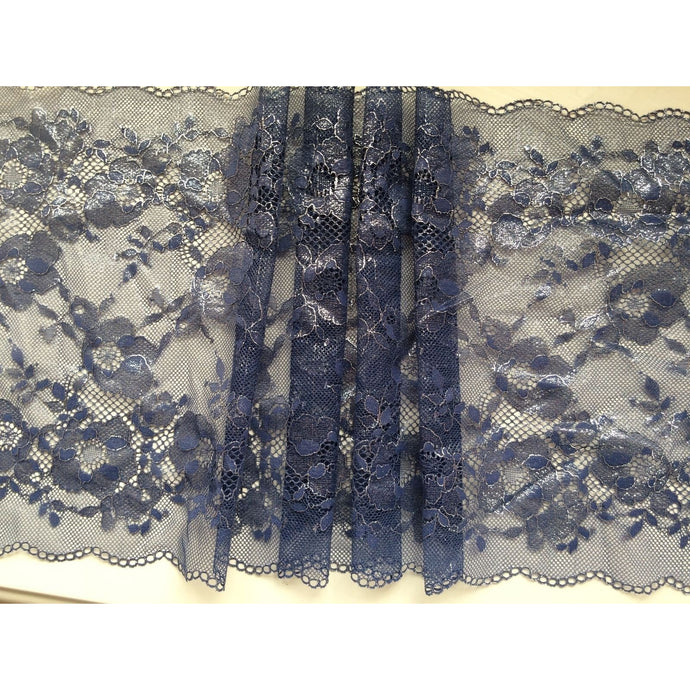 Navy Blue & Silver Delicate Wide Stretch Lace 24cm/9.5