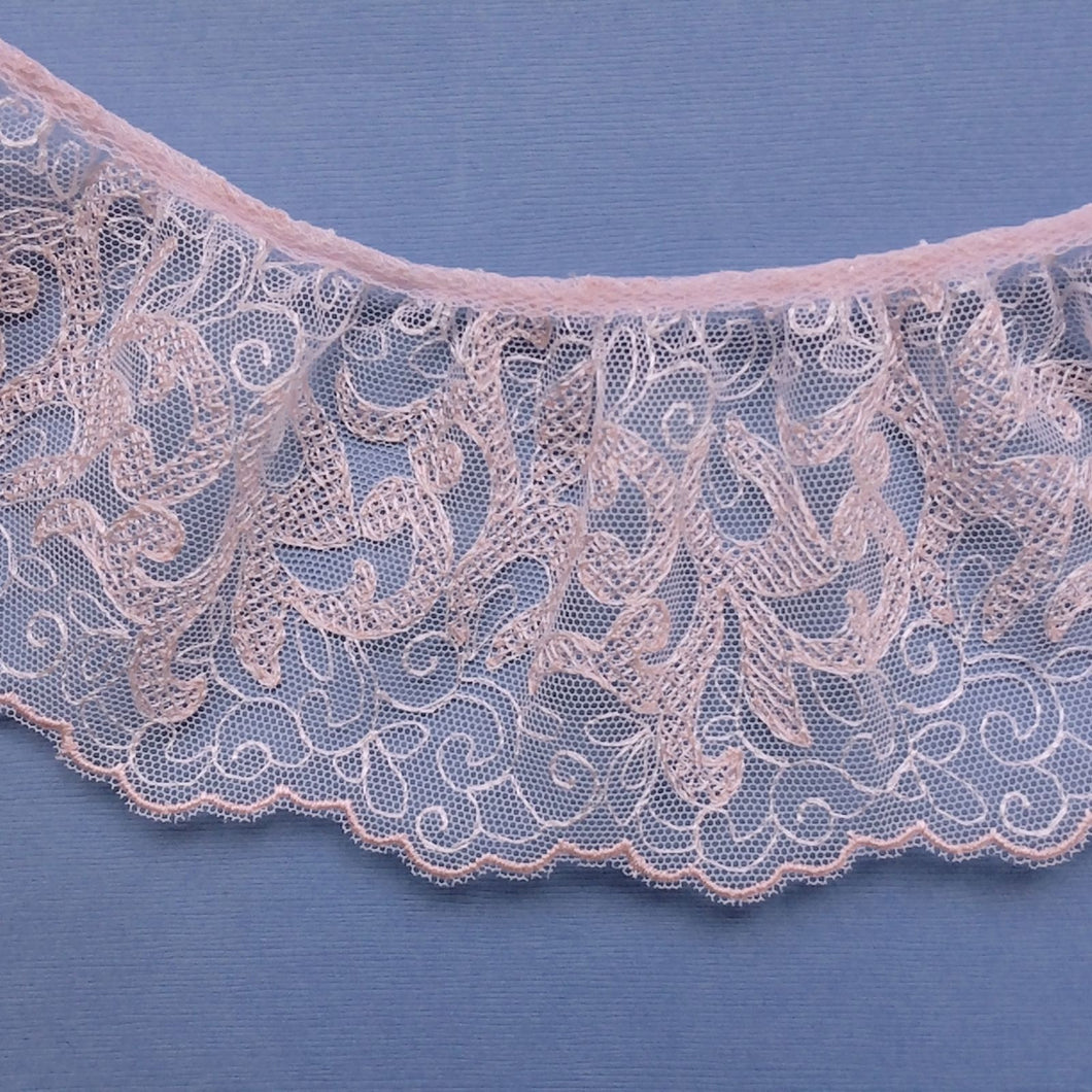 3 m Beautiful Pink Embroidered Tulle Frilled Gathered Lace  8.5 cm/3.5