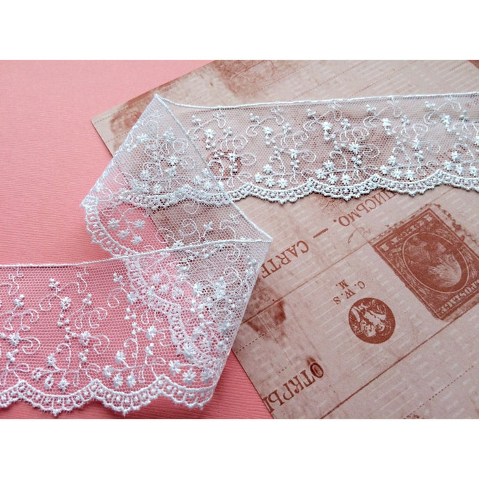 White Embroidered Tulle Lace Bridal Ribbon 55mm