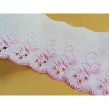 White/Pink Cotton Broderie Anglaise 3""