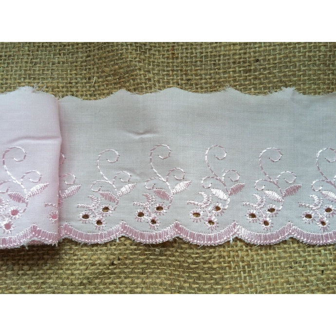 Pink Broderie Anglaise Cotton Lace Trim  3