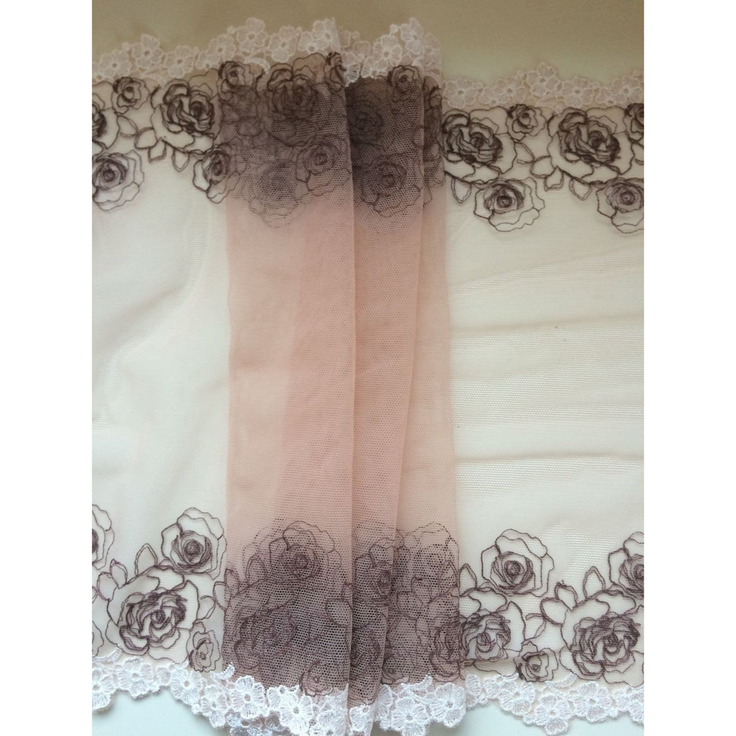 Beautiful Ivory/Coffee GUIPURE Embroidered Tulle Lace 12