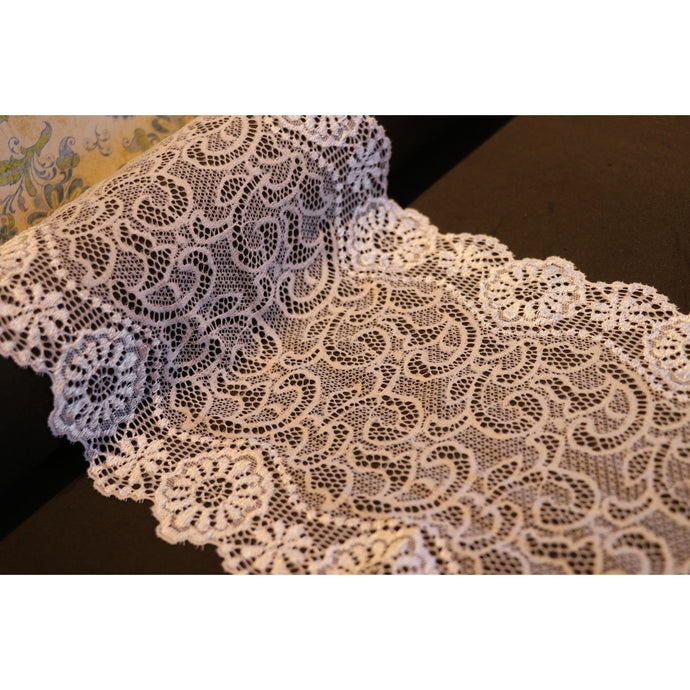 Wide White Silky Soft Stretch Lace Trim 17 cm/7