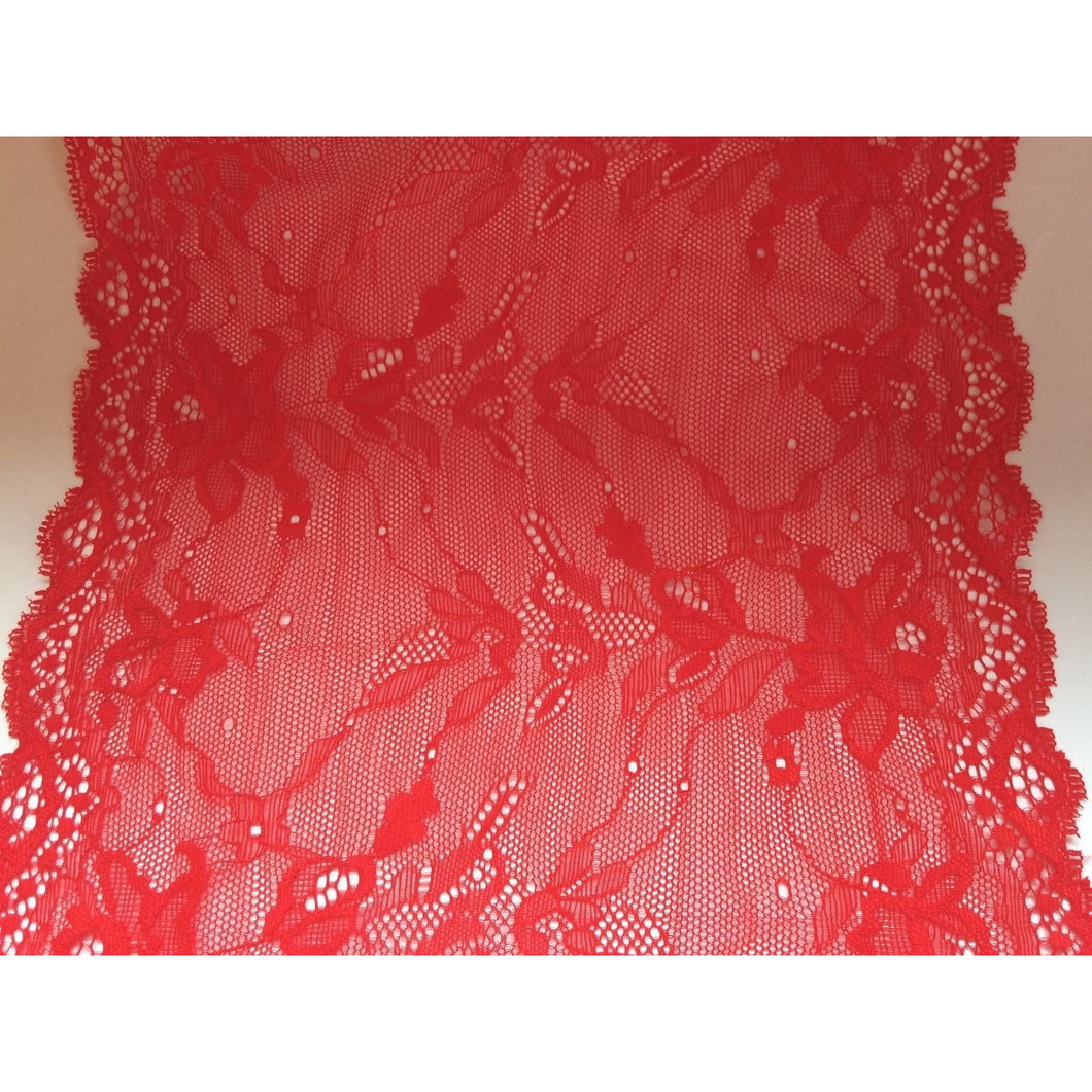 Beautiful Scarlet Red Stretch Wide Lace 24 cm/9.5