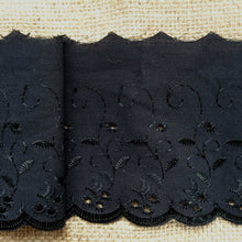 Quality Black Broderie Anglaise  Lace Trim  4""