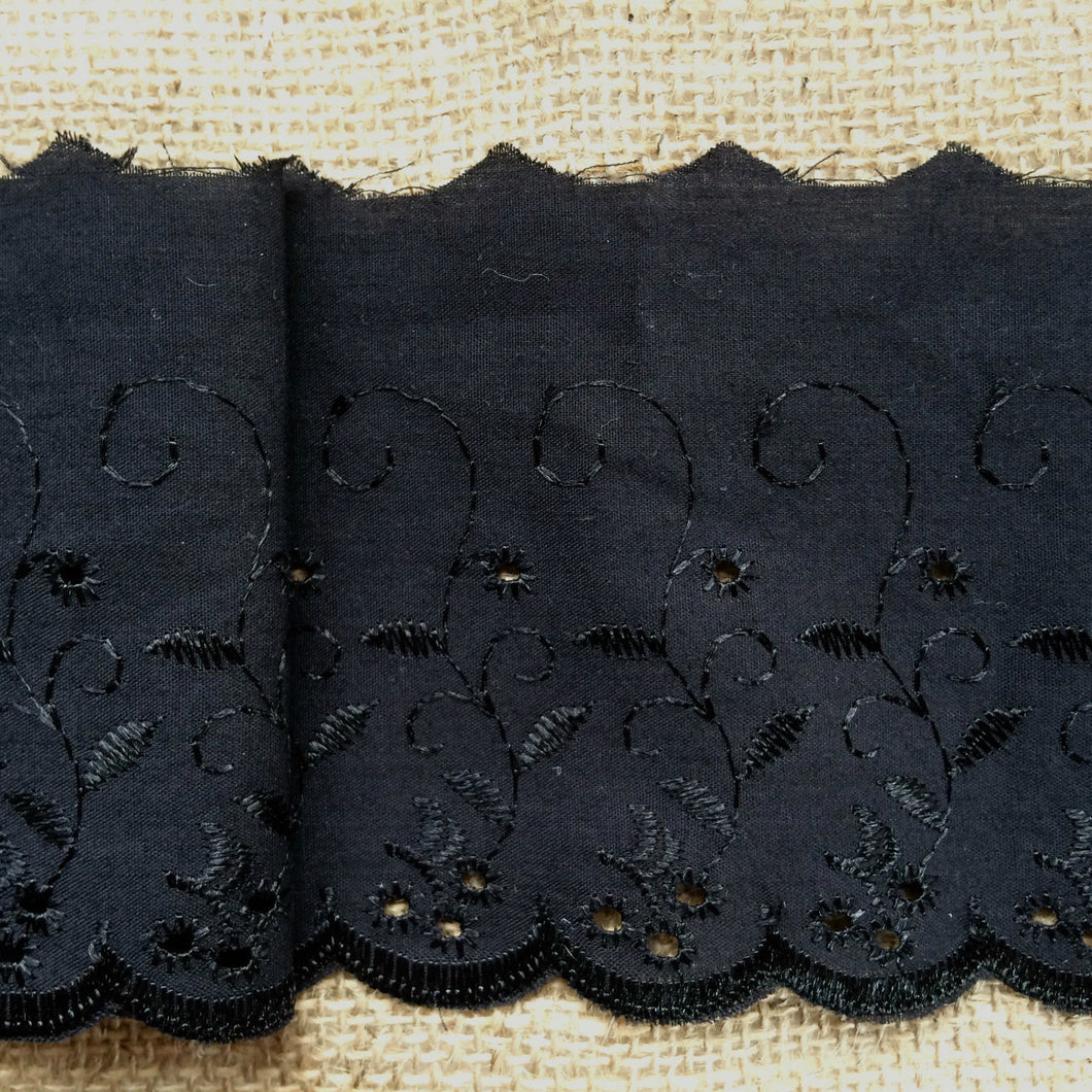 Quality Black Broderie Anglaise  Lace Trim  4