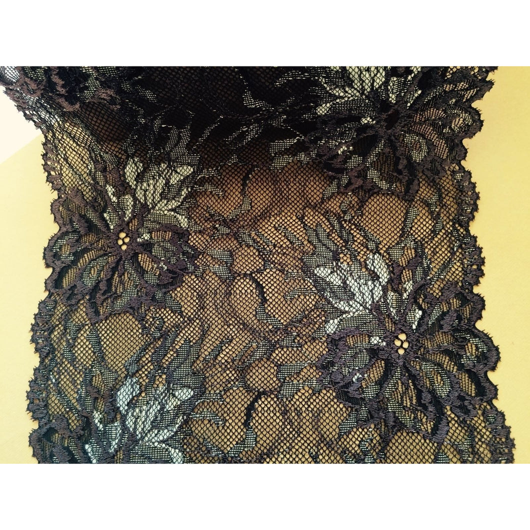 Chocolate Brown/Olive Green Stretch Lace 7