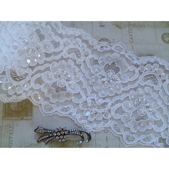 White  Seqinned Beaded Corded French Lace 13cm Bridal Trim