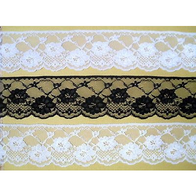 White Ivory or Black Delicate Pretty Nottingham Lace 7cm/2.5