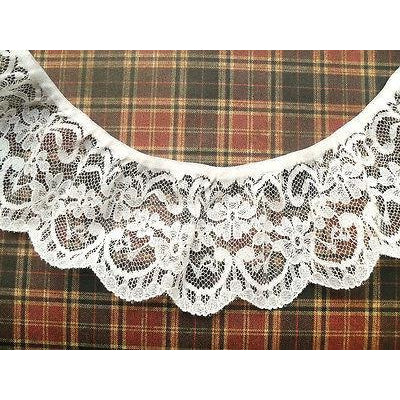 25 m Quality White Nottingham Gathered Frilled Lace  7 cm