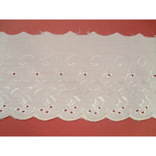 Ivory Cream Broderie Anglaise Lace Embroidery Trim 11cm/4""