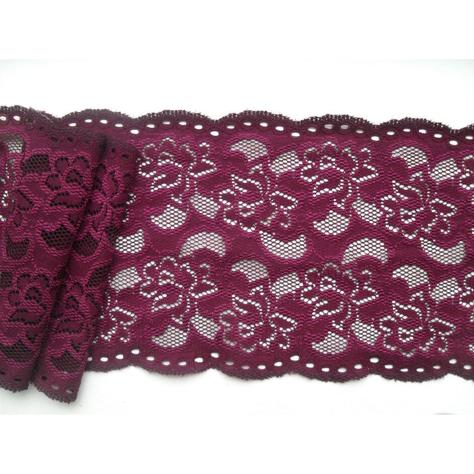 Wine Burgundy Plum Soft Stretch French Lace  15cm/6
