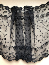 Black Embroidered Wide Tulle Double Scalloped Lace 22 cm/8.5""