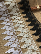 "Leaf Design Guipure Venise Lace Trim 7 cm/2.5"" White, Ivory Black"