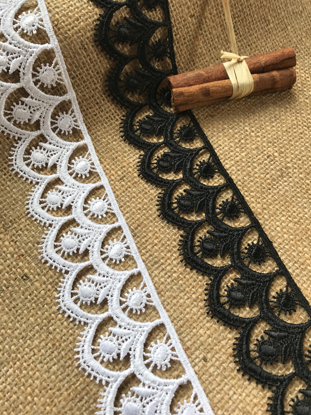White and Black Satin Guipure Lace Trimming  5 cm/2