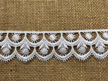 White and Black Satin Guipure Lace Trimming  5 cm/2""