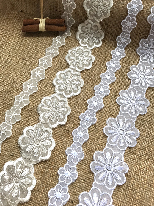 Embroidered Voile Daisy Flower Lace Trimmings  White and Cream