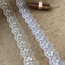 "Delicate Embroidered Tulle Bridal Lace Trim 2.5 cm/1"" White and Ivory"