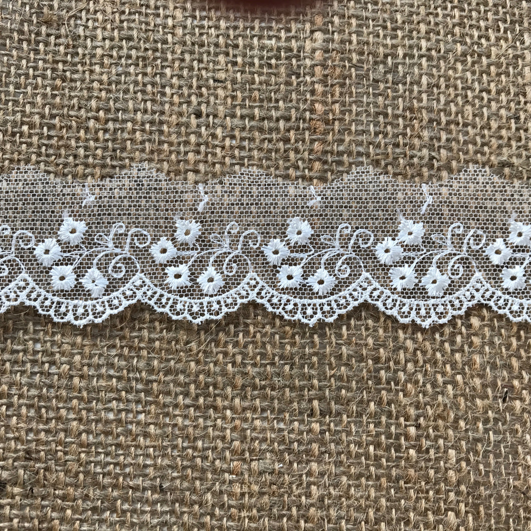 Delicate Embroidered Tulle Bridal Lace Trim 2.5 cm/1