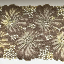 "Taupe Coffee Stretch Scalloped Lace 17cm/6.75"" Lingerie Craft Table Runner"