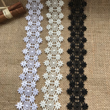 "Beautiful Guipure Double-Sided Lace Trim 4 cm/1.75"" White, Ivory Black"