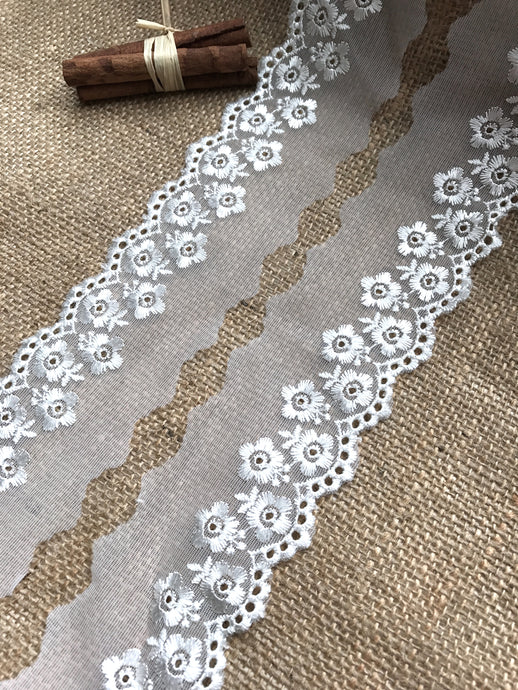 Ivory Embroidered Tulle Lace 6.5 cm/2.5