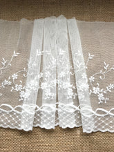 Ivory Embroidered Stretch Tulle Lace 20 cm/8""